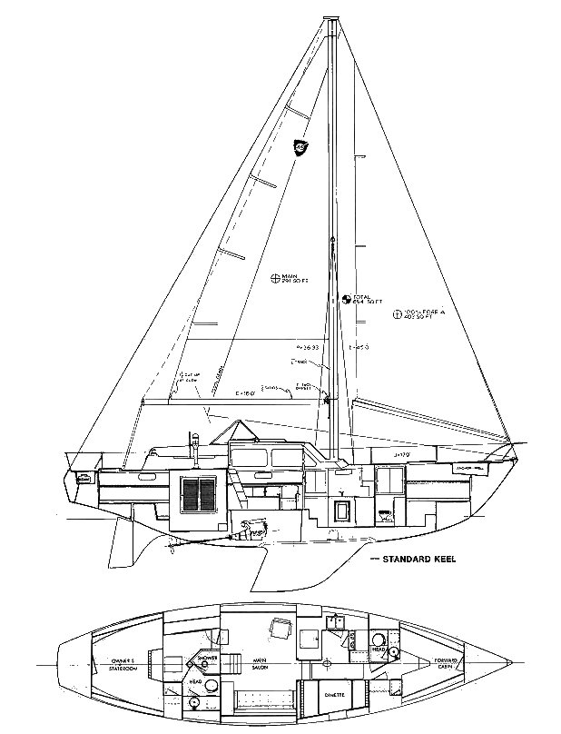 Columbia 45 drawing on sailboatdata.com