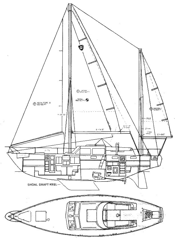 Columbia 45 ketch drawing on sailboatdata.com