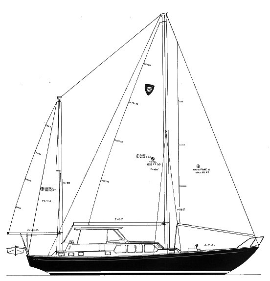 Columbia 56 drawing on sailboatdata.com