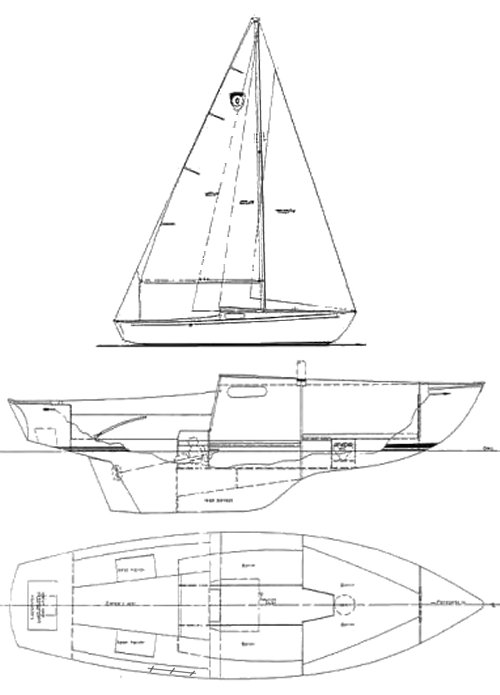 Columbia Challenger 24 drawing on sailboatdata.com