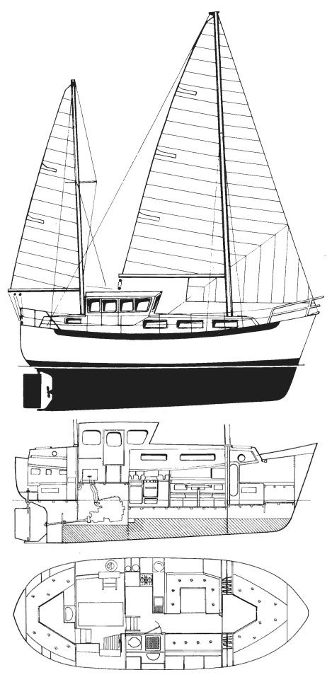 Colvic Watson 34.5 drawing on sailboatdata.com