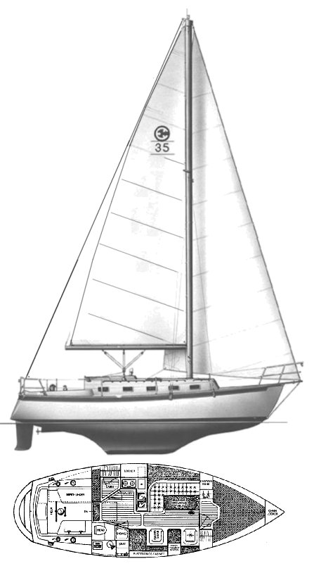 Com-pac 35 drawing on sailboatdata.com