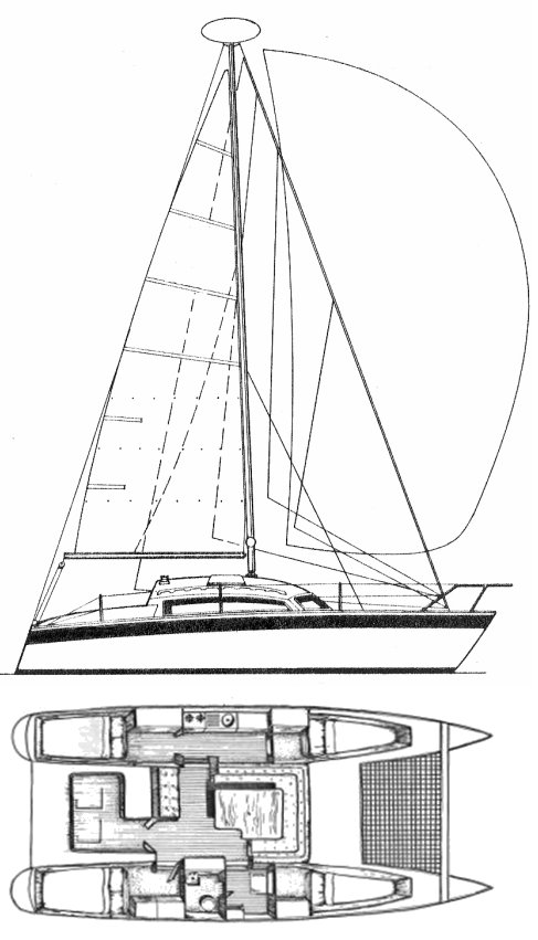 Comanche 32 Catamaran drawing on sailboatdata.com