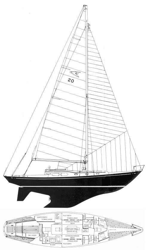Comanche 42 drawing on sailboatdata.com