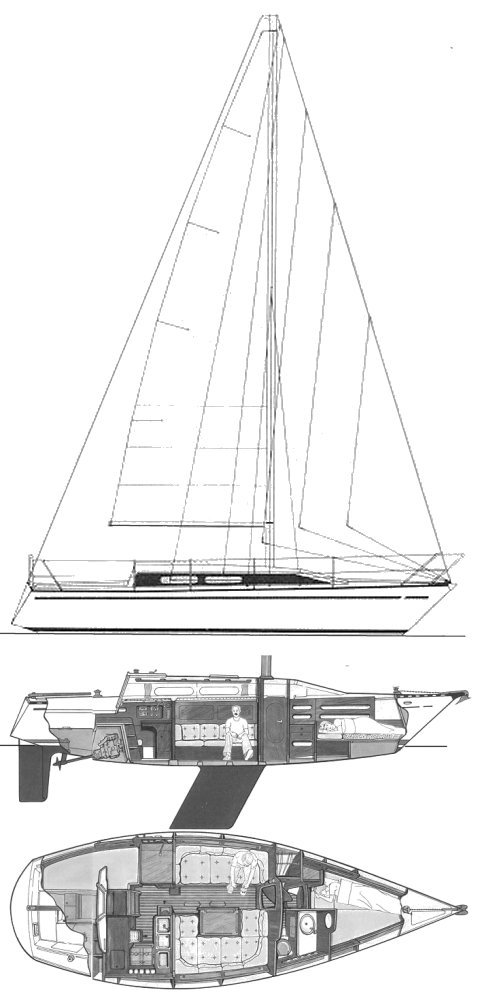 Comet 1000 (Comar) drawing on sailboatdata.com