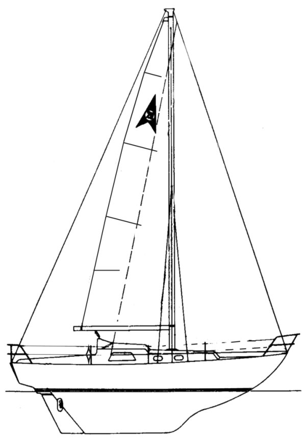 Compass 28 drawing on sailboatdata.com