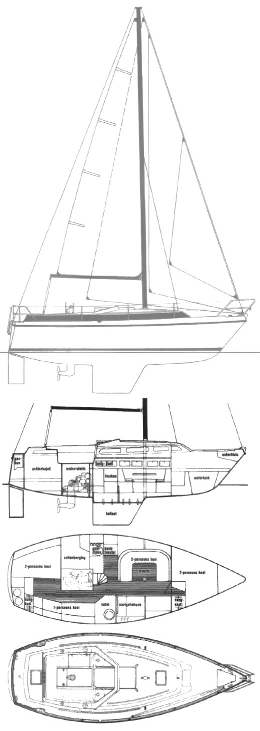 Compromis 909 drawing on sailboatdata.com