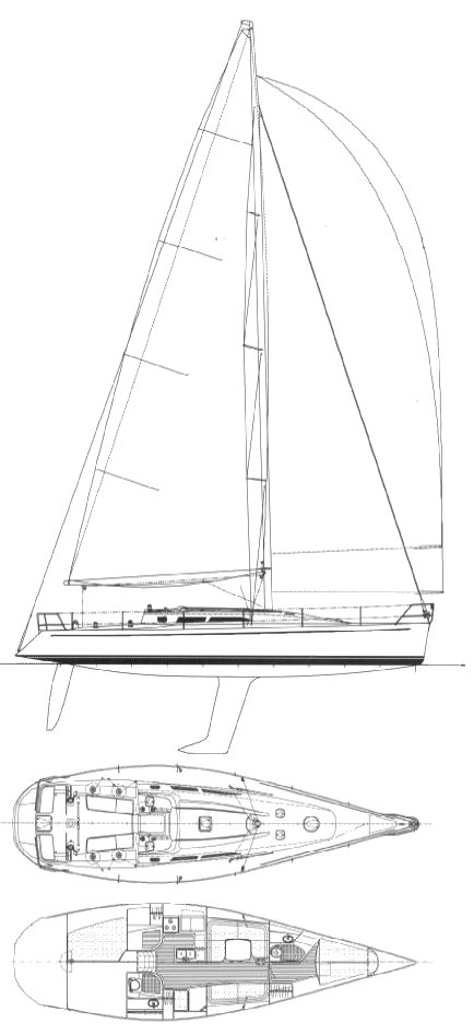 Concordia 47 drawing on sailboatdata.com