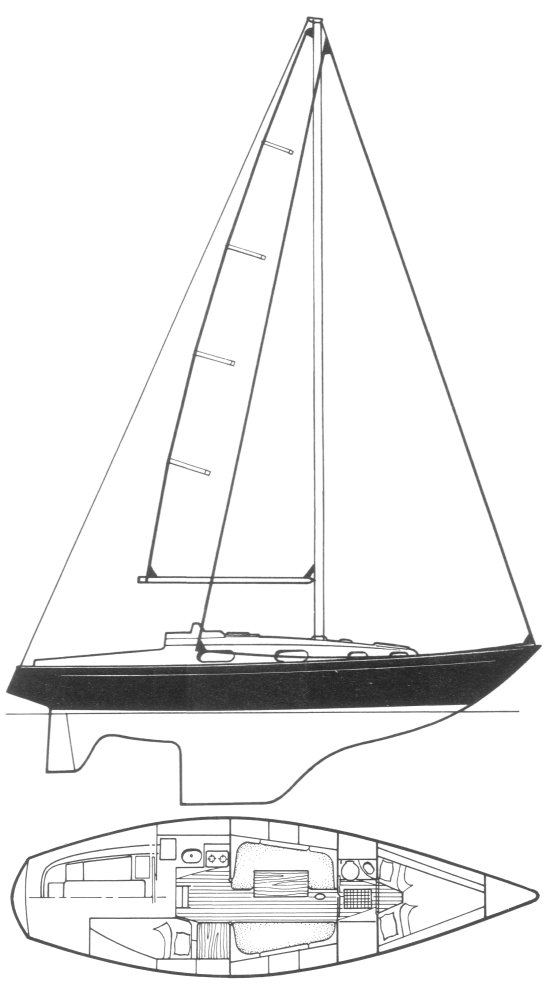 Contessa 32 drawing on sailboatdata.com