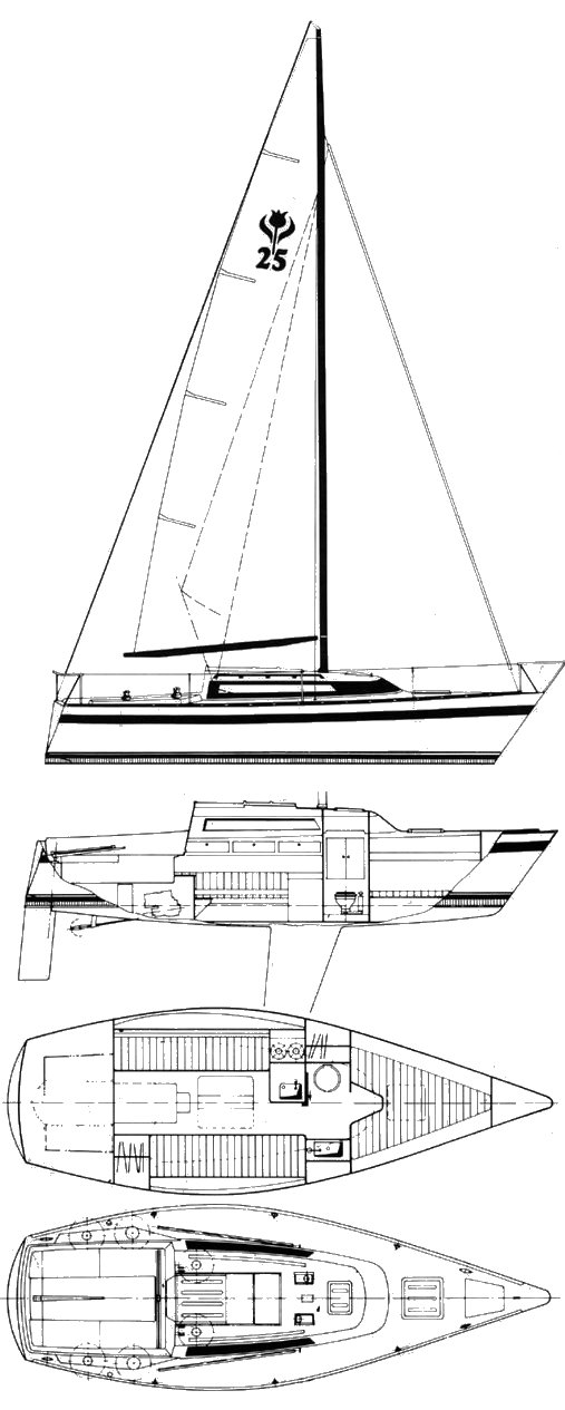 Contest 250C drawing on sailboatdata.com