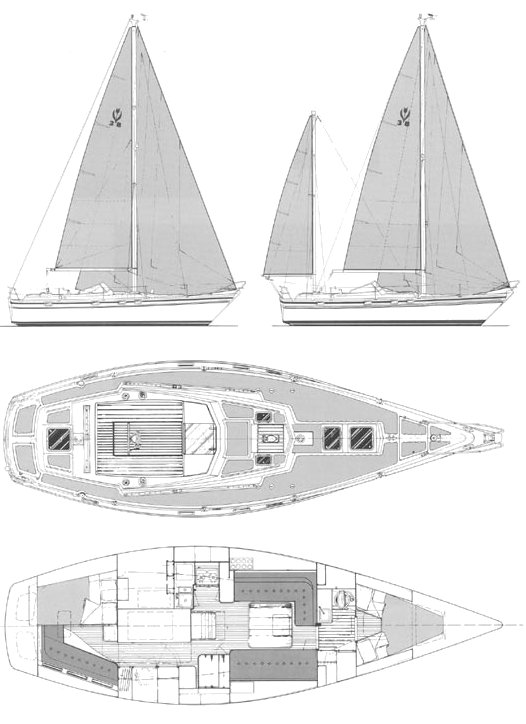 Contest 38S drawing on sailboatdata.com