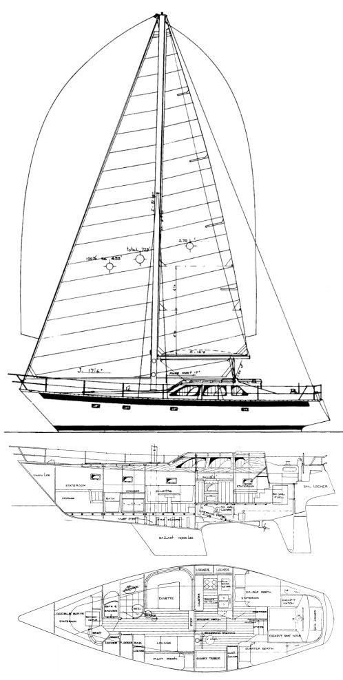 Cooper 416 drawing on sailboatdata.com