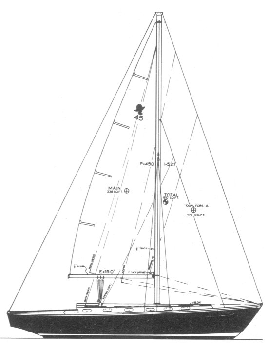 Coronado 45 drawing on sailboatdata.com