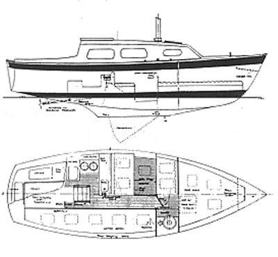 Coronet 25 drawing on sailboatdata.com