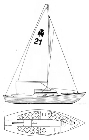 Corribee Mk I drawing on sailboatdata.com
