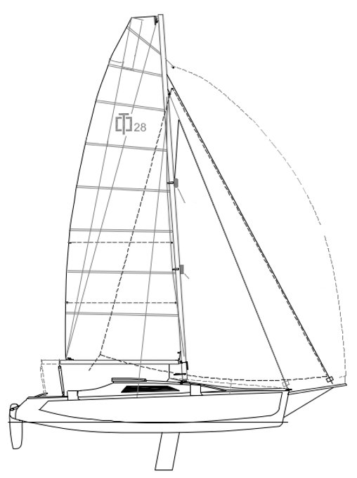 Corsair 28 drawing on sailboatdata.com