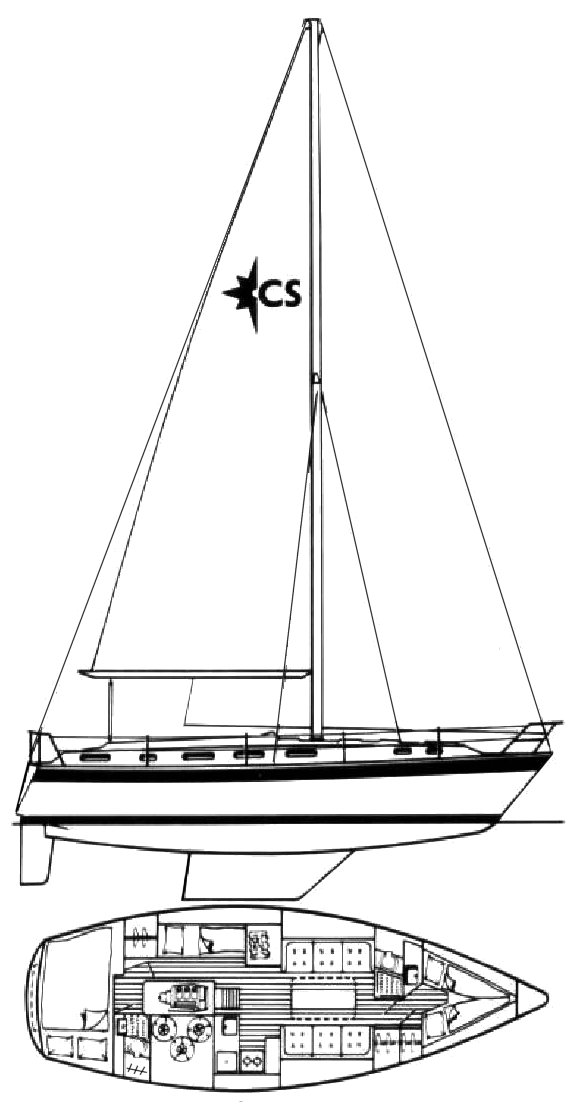 Corsair 36 (Westerly) drawing on sailboatdata.com