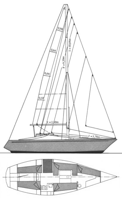 Costantini 30 drawing on sailboatdata.com