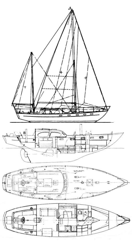 Countess 44 drawing on sailboatdata.com