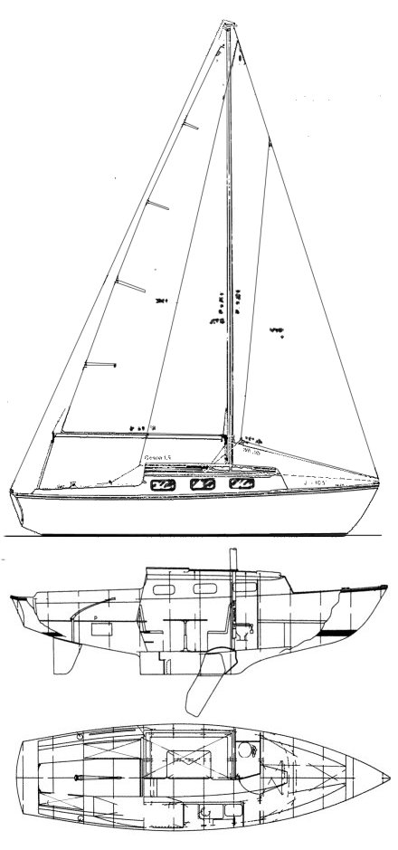 Courier 26 (Sailstar) drawing on sailboatdata.com