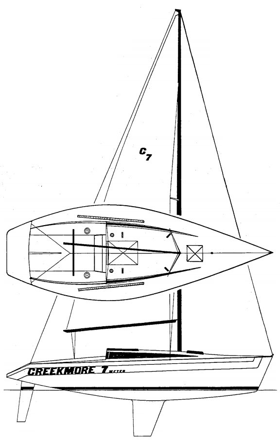 Creekmore 7M drawing on sailboatdata.com