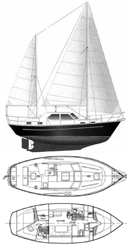 Cromarty 36 drawing on sailboatdata.com