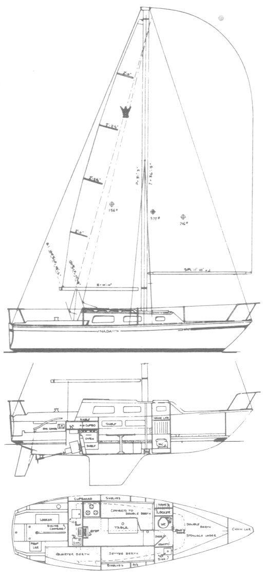 Crown 28 drawing on sailboatdata.com