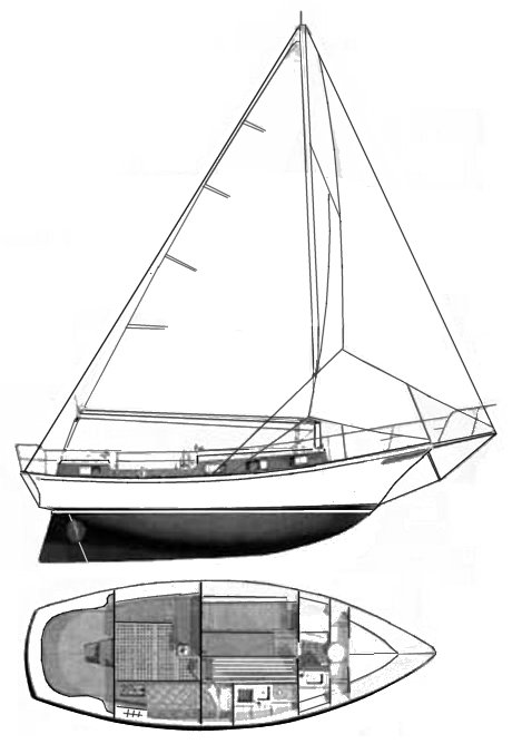 Cruisare 30 Clipper drawing on sailboatdata.com
