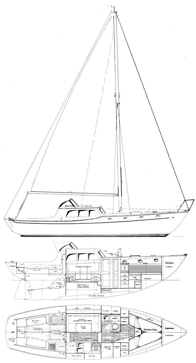 Cruisemaster 37 drawing on sailboatdata.com