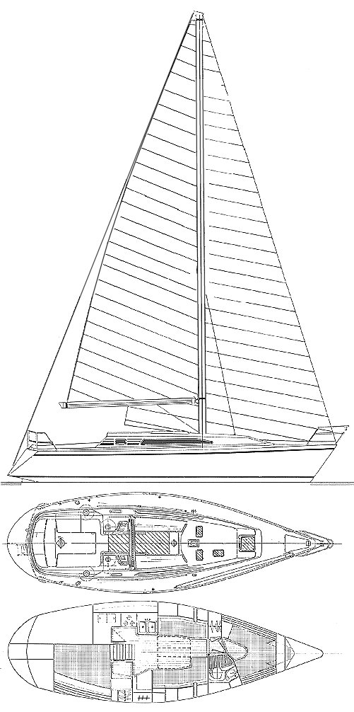 CS 36 Merlin drawing on sailboatdata.com