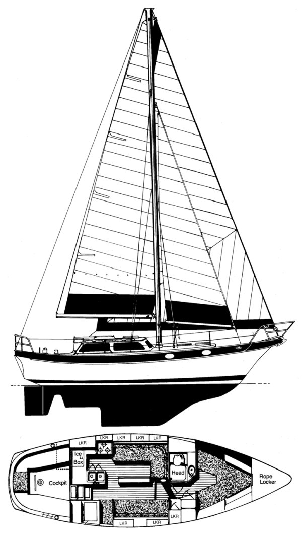 CSY 33 drawing on sailboatdata.com