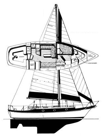 CSY 37 drawing on sailboatdata.com