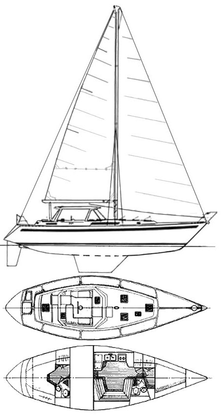 CSY 42 PH drawing on sailboatdata.com