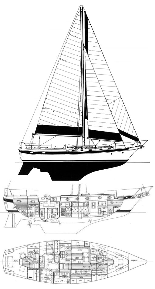 CSY 44 Mid-Cockpit drawing on sailboatdata.com