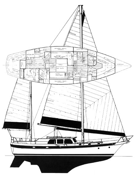 CSY 44 PH drawing on sailboatdata.com