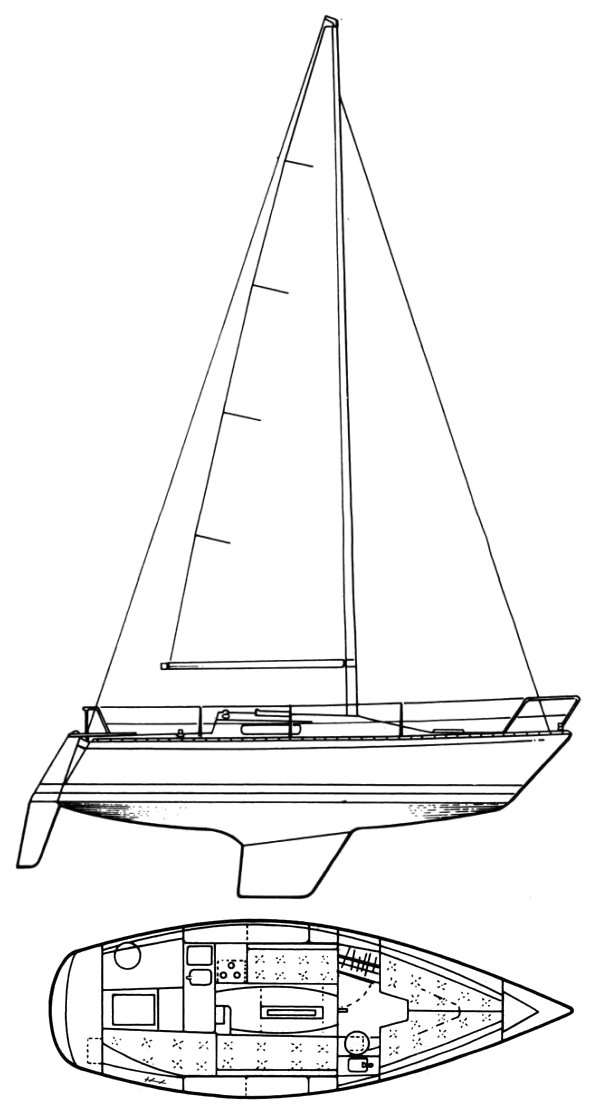 Cumulus 28 (Albin) drawing on sailboatdata.com