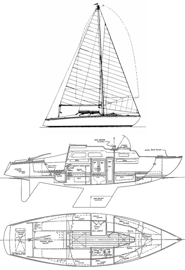 Cutlass 23 (Carlson) drawing on sailboatdata.com