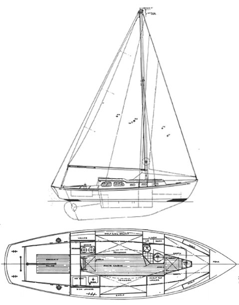 Daimyo 31 drawing on sailboatdata.com