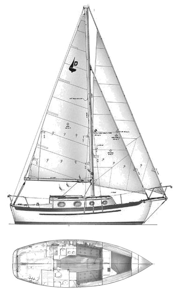 Dana 24 drawing on sailboatdata.com