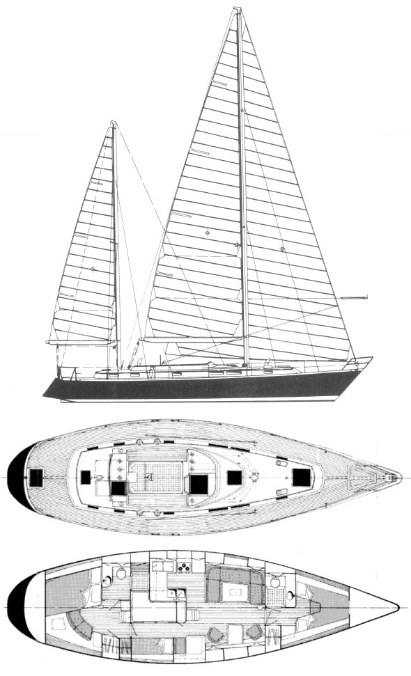 Dawn 48 drawing on sailboatdata.com