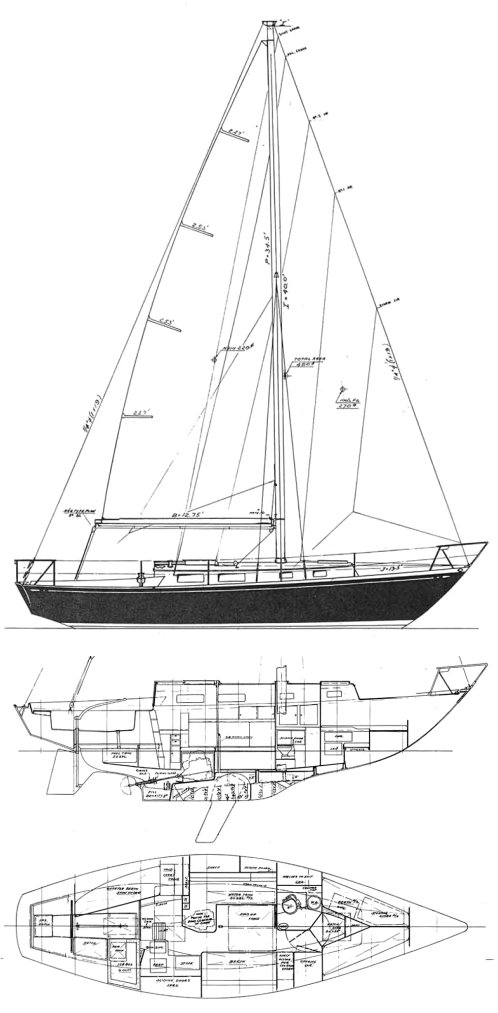 Deb 33 drawing on sailboatdata.com