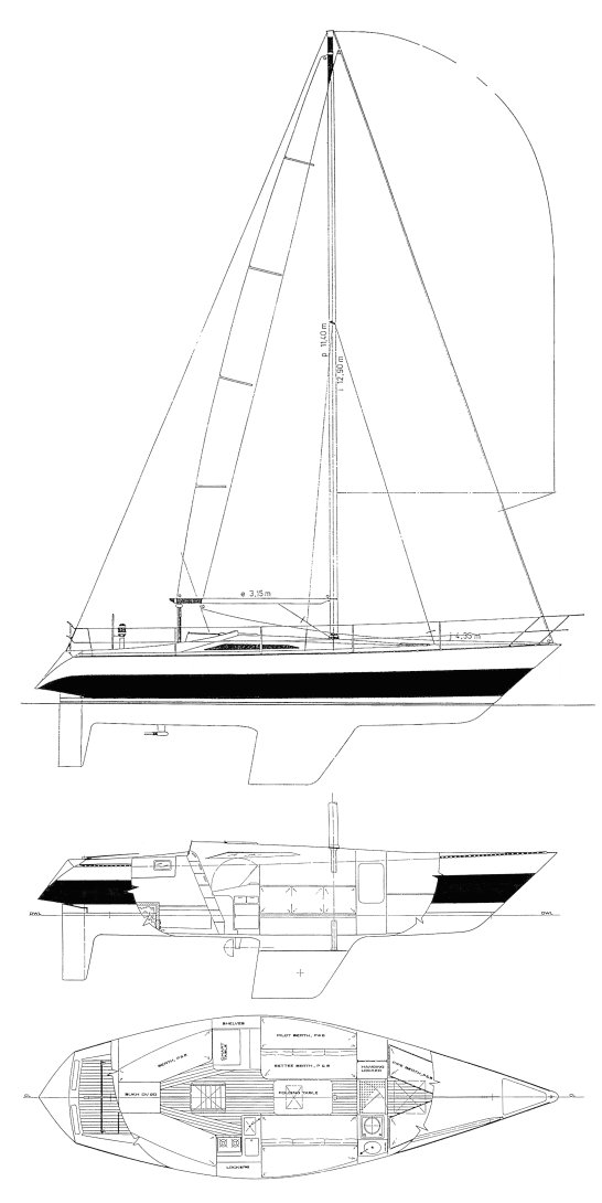 Defender 35 drawing on sailboatdata.com