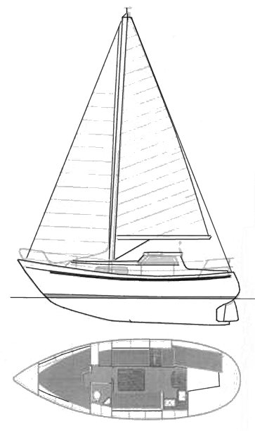 Degero 28MS drawing on sailboatdata.com