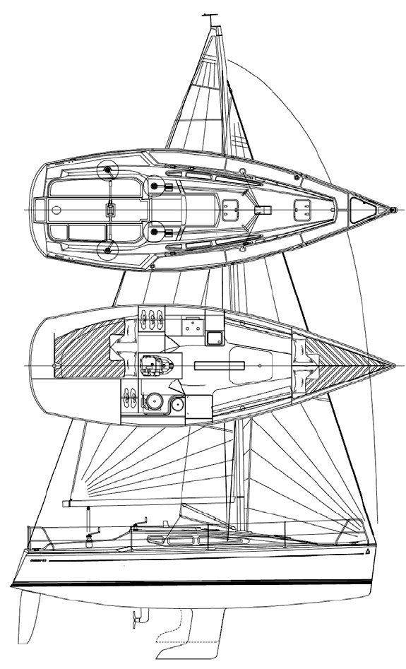 Dehler 29 drawing on sailboatdata.com