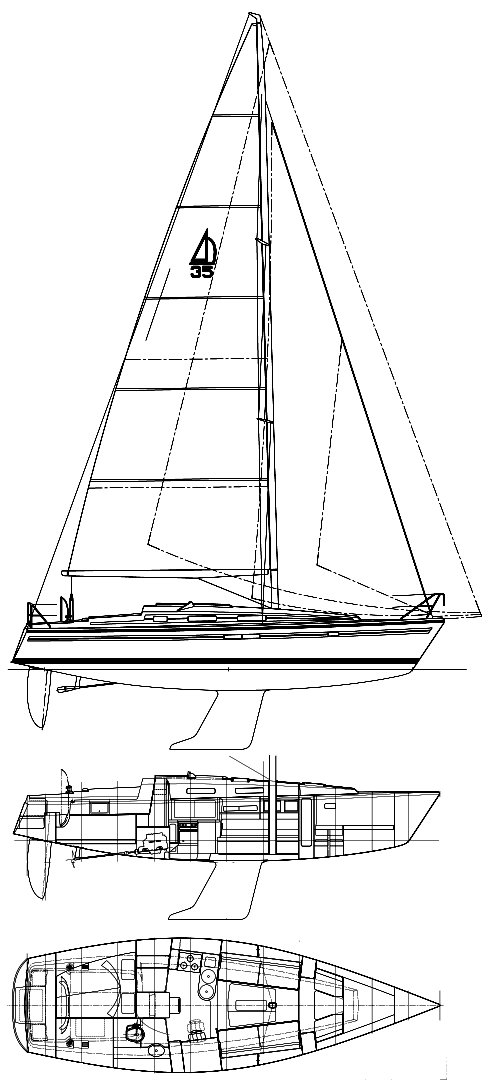 Dehler 35 CWS drawing on sailboatdata.com