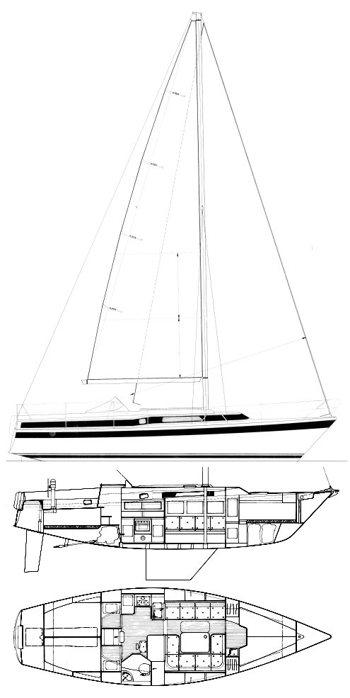 Dehler 37 drawing on sailboatdata.com