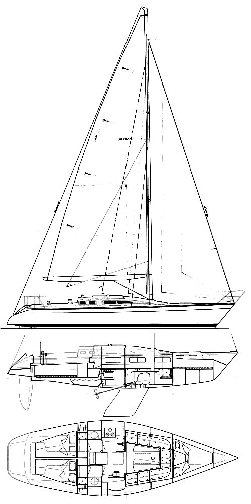 Dehler 38 (cruise) drawing on sailboatdata.com