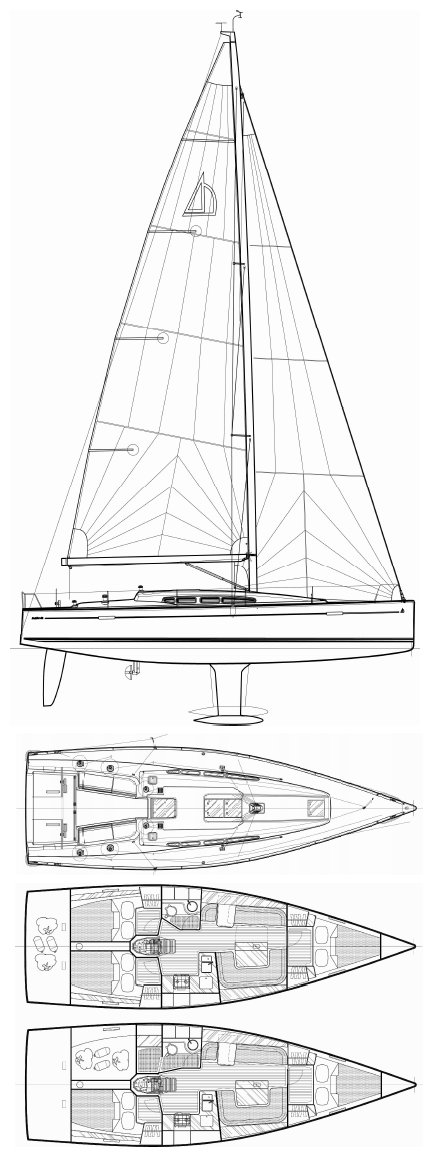 Dehler 41 drawing on sailboatdata.com