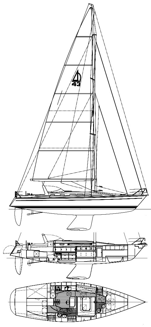 Dehler 43 CWS drawing on sailboatdata.com