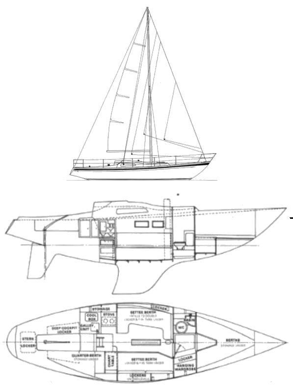 Delta 94 drawing on sailboatdata.com